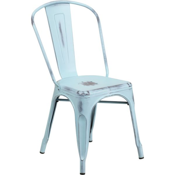 Flash Furniture Distressed Dream Blue Metal Indoor-Outdoor Stackable Chair