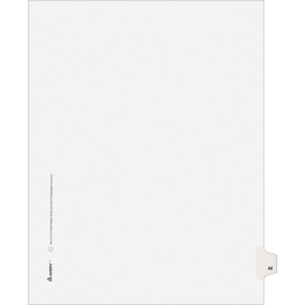 Avery-Style Legal Exhibit Side Tab Divider, Title: 48, Letter, White, 25/Pack