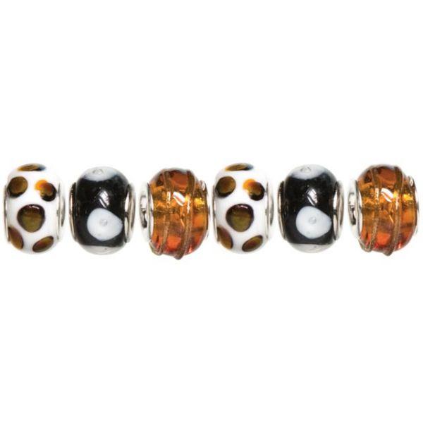 Trinkettes Glass, Metal & Clay Beads 6/Pkg