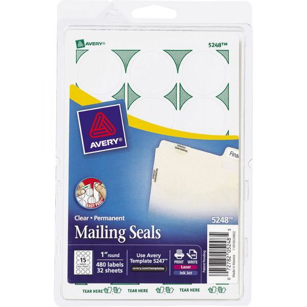 """Avery Printable Mailing Seals, 1"""" dia., Clear, 480/Pack"""