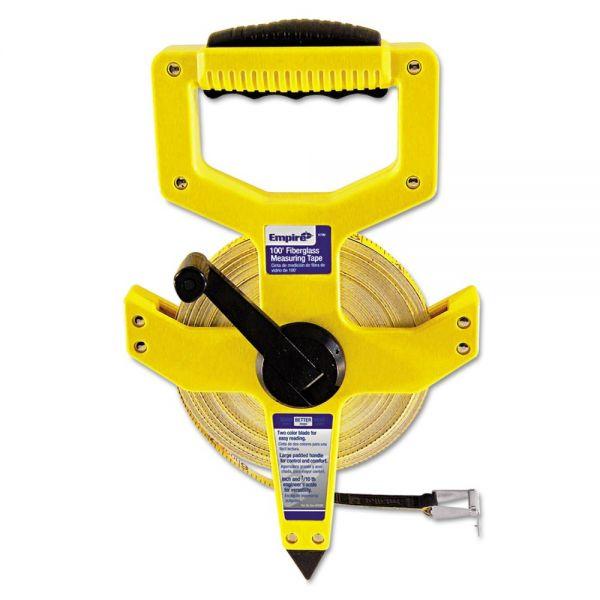 "Empire Open-Reel Fiberglass Measuring Tape,1/2""x100ft, Yellow/White Blade, Yellow Case"