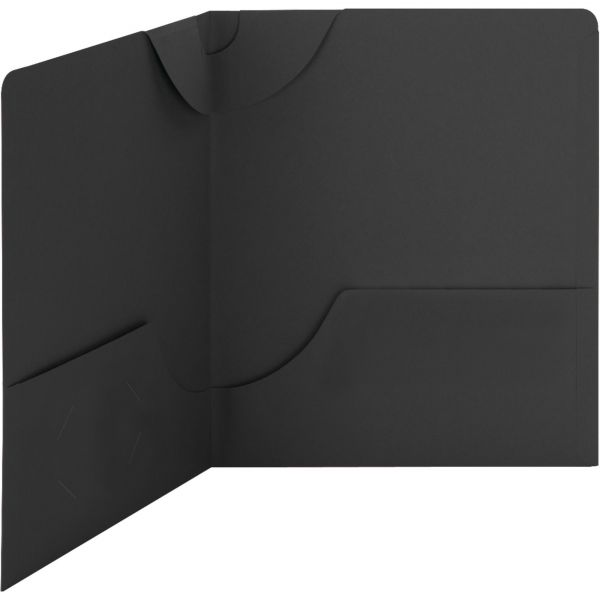 Smead Lockit Two-Pocket Folder, Textured Paper, 11 x 8 1/2, Black, 25/Box