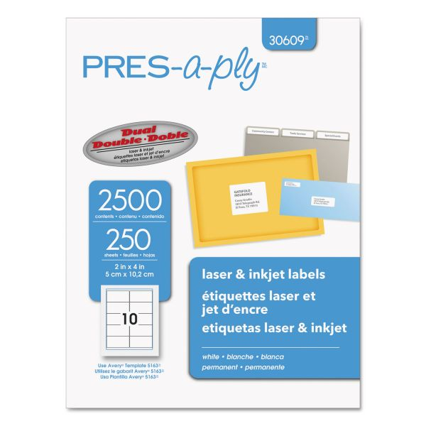 "Pres-A-Ply 2"" x 4"" Shipping Labels"