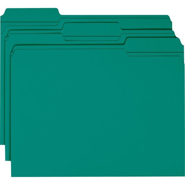 Smead Teal Colored File Folders with Reinforced Tab