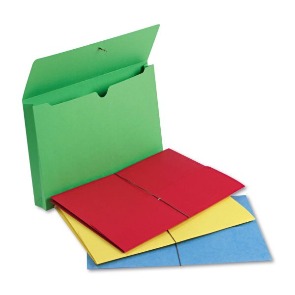 "Smead 2"" Exp Wallet, Elastic Cord, Legal, Blue/Green/Red/Yellow, 50/Box"