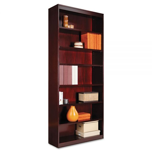Alera Square Corner 7-Shelf Wood Veneer Bookcase