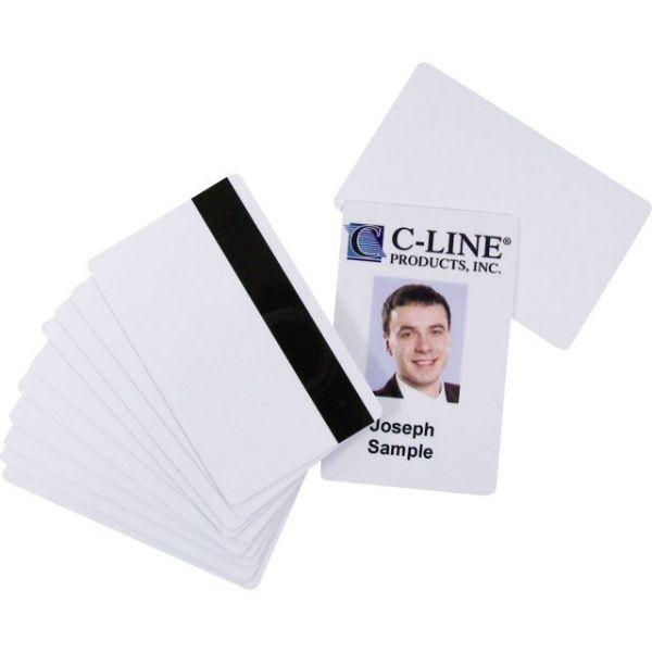 C-Line PVC ID Badge Card, Magnetic Stripe, 3-3/8 x 2-1/8, White, 100/Pack