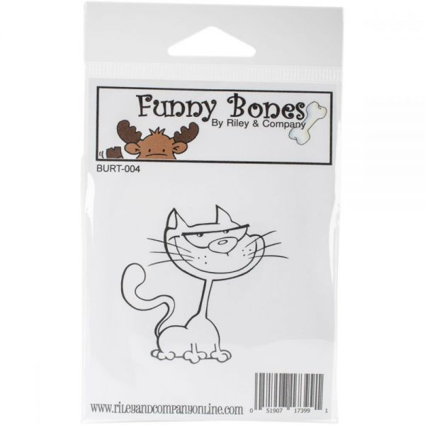 "Riley & Company Burt The Cat Cling Stamp 2""X1.25"""