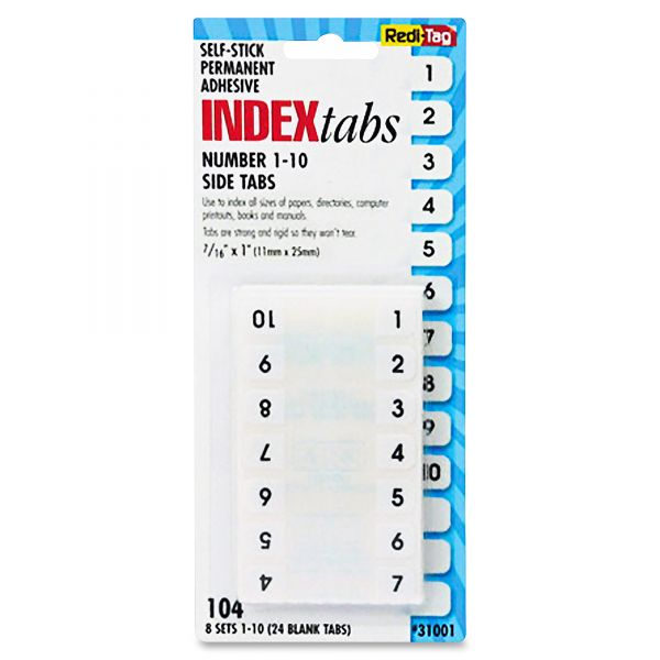 Redi-Tag Permanent Numbered Tab Indexes
