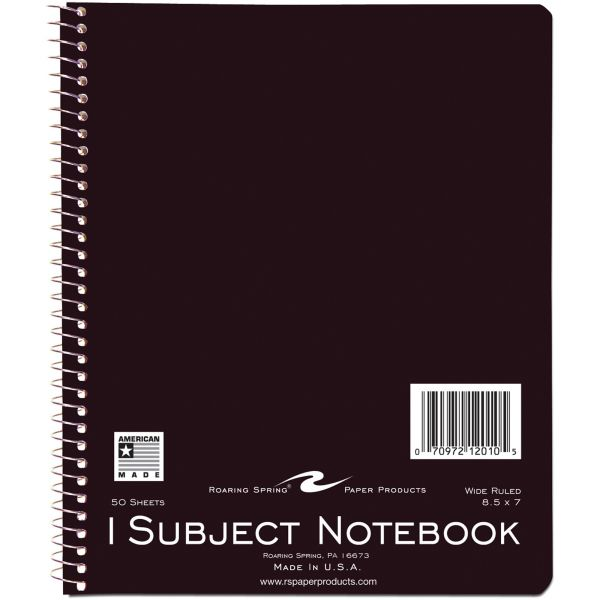Roaring Spring 1-Subject Wide Ruled Spiral Notebook