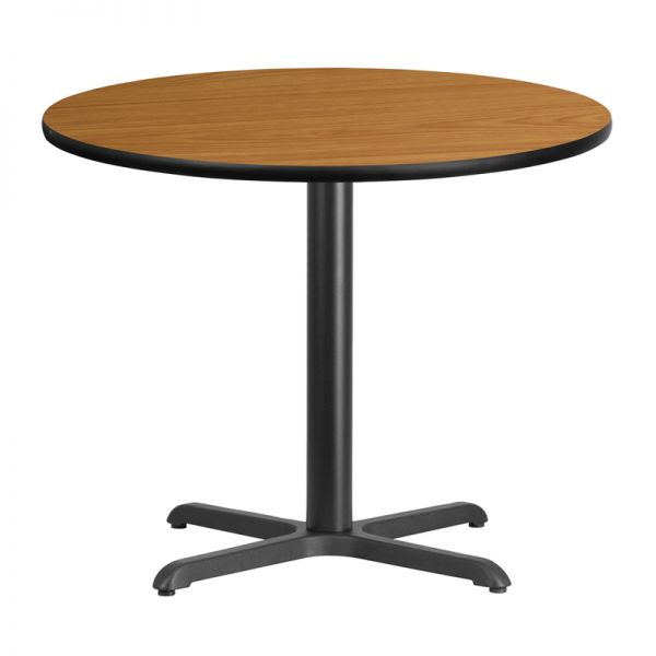 Flash Furniture 36'' Round Natural Laminate Table Top with 30'' x 30'' Table Height Base
