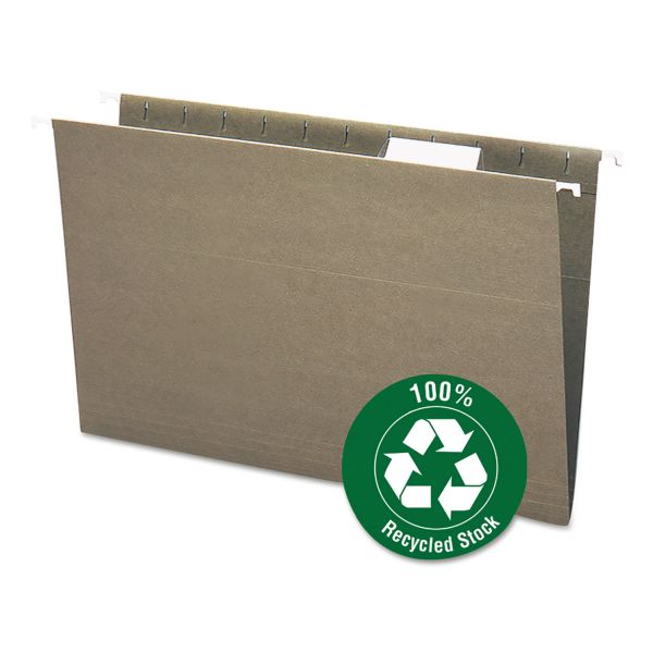 Smead Recycled Hanging File Folders, 1/5 Tab, 11 Point Stock, Legal, Green, 25/Box