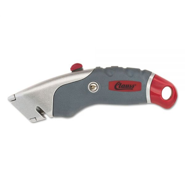"Clauss Titanium Auto-Retract Utility Knife, Gray/Red, 2 3/10"" Blade"