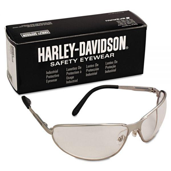 Harley-Davidson 500 Series Safety Eyewear, Silver Frame, Clear Lens