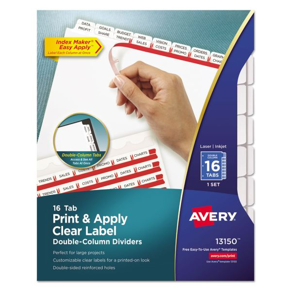 Avery Index Maker Print & Apply Clear Label Double Column Dividers, 16-Tab, White Tab, Letter, 1 Set
