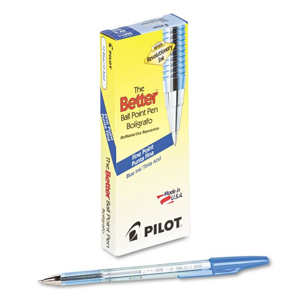 Pilot Better Ball Point Stick Pen, Blue Ink, .7mm, Dozen