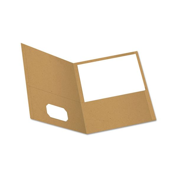 Oxford Earthwise by Oxford 100% Recycled Paper Twin-Pocket Portfolio, 100-Sheet Capacity, Natural, 25/Box