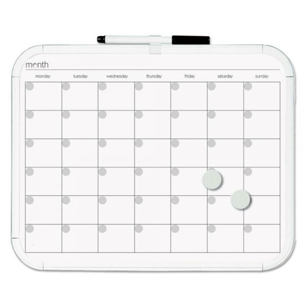 MasterVision Magnetic Dry Erase Calendar Board, 11 x 14, White Plastic Frame