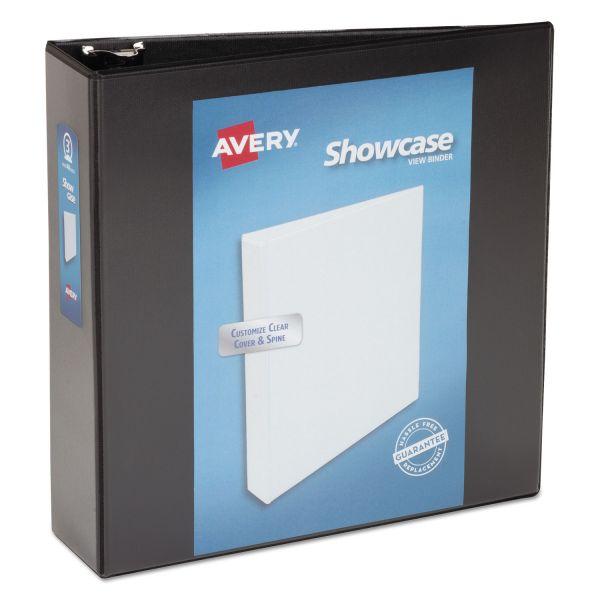 "Avery Showcase Economy 3-Ring View Binder, 3"" Capacity, Round Ring, Black"
