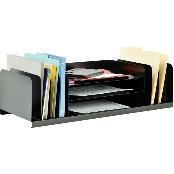 SteelMaster Jumbo Organizer for Large Forms, 11 Sections, Steel, 30 x 11 x 8 1/8, Black