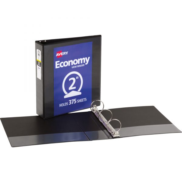 "Avery Economy 3-Ring View Binder, 2"" Capacity, Round Ring, Black"