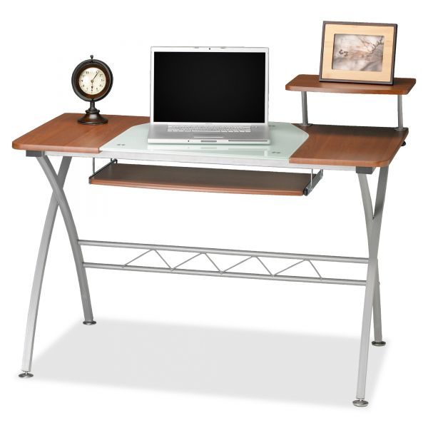 Mayline Eastwinds Vision Computer Desk, 47-1/4w x 27d x 34h, Med Cherry with White Glass