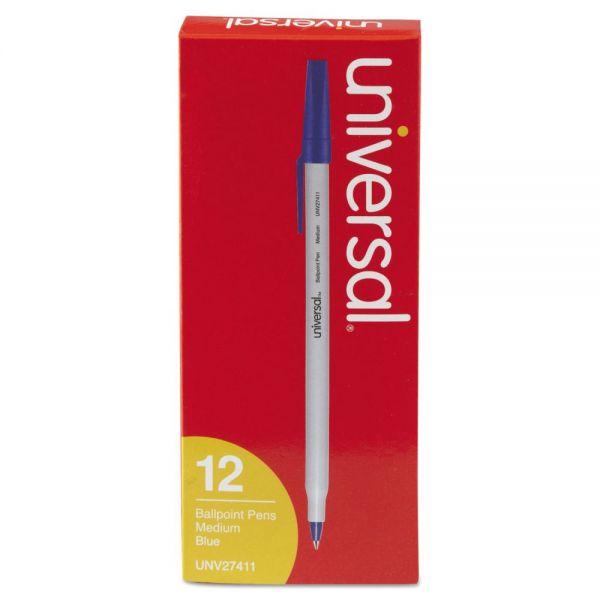 Economy Ballpoint Stick Oil-Based Pen, Blue Ink, Medium, Dozen