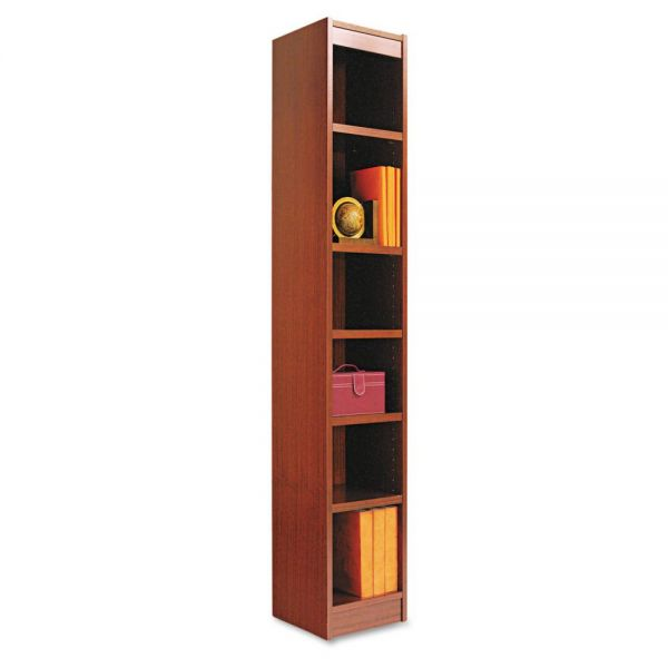 Alera Narrow Profile Bookcase, Wood Veneer, Six-Shelf, 12w x 72h, Medium Cherry
