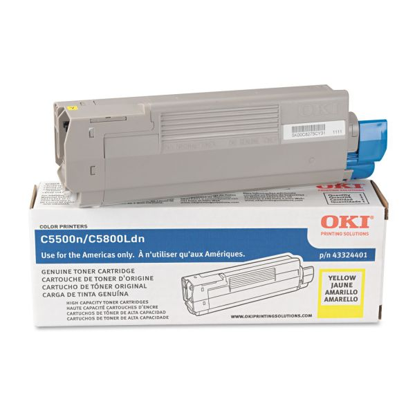Oki 43324401 High-Yield Toner, 5000 Page-Yield, Yellow