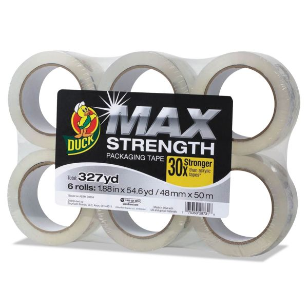 "Duck MAX Packaging Tape, 1.88"" x 54.6 yds, 3"" Core, Crystal Clear, 6/Pack"