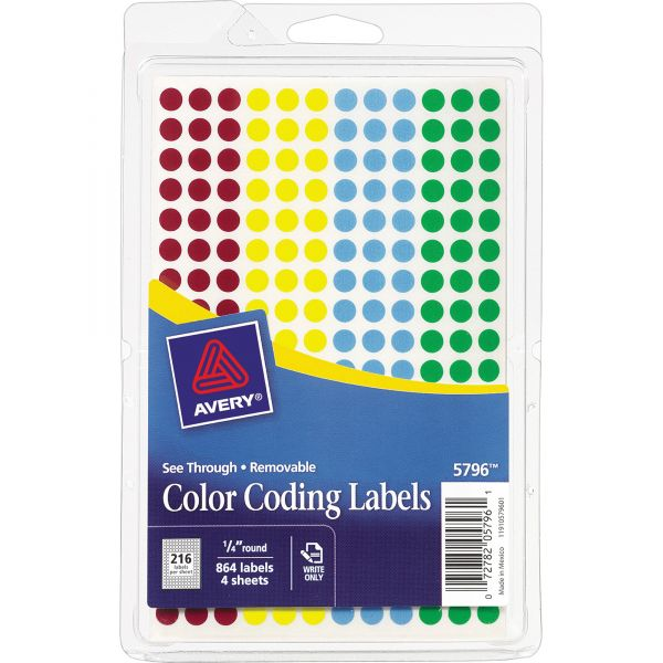 Avery See Through Round Color Dot Labels