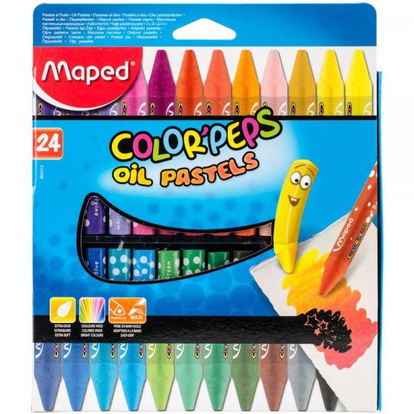 Color'Peps Triangular Oil Pastels 24/Pkg