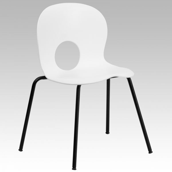 Flash Furniture HERCULES Series 770 lb. Capacity Designer White Plastic Stack Chair with Black Frame