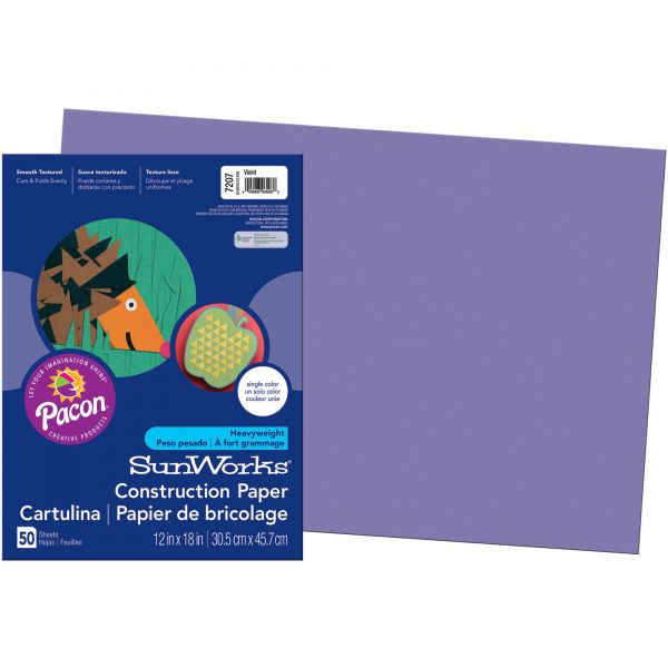 SunWorks Groundwood Purple Construction Paper