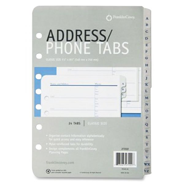 FranklinCovey A-Z Tabbed Address/Phone Pages, 5 1/2 x 8 1/2