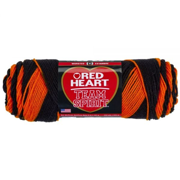 Red Heart Team Spirit Yarn - Orange/Black