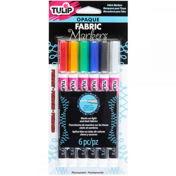 Tulip Opaque Fabric Markers 6/Pkg