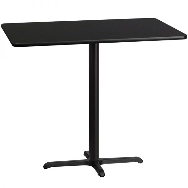 Flash Furniture 30'' x 48'' Rectangular Black Laminate Table Top with 22'' x 30'' Bar Height Table Base