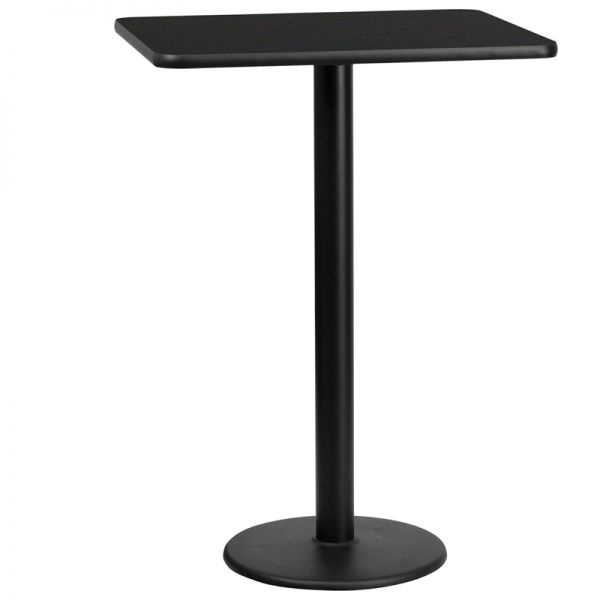 Flash Furniture 24'' x 30'' Rectangular Black Laminate Table Top with 18'' Round Bar Height Table Base