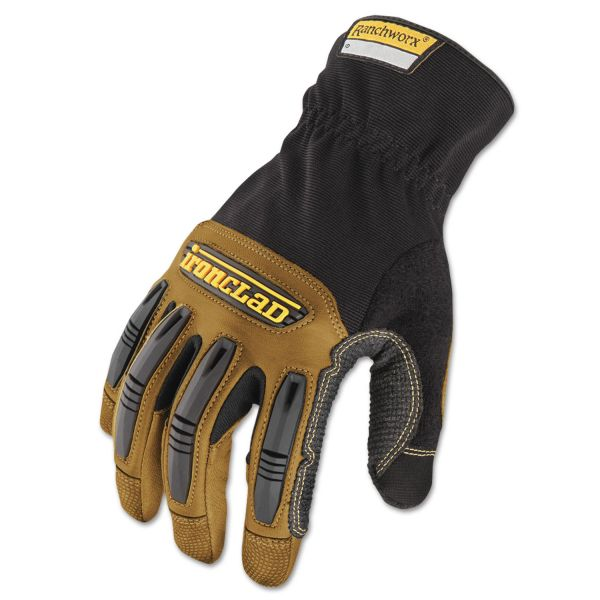 Ironclad Ranchworx Leather Gloves, Black/Tan, Medium