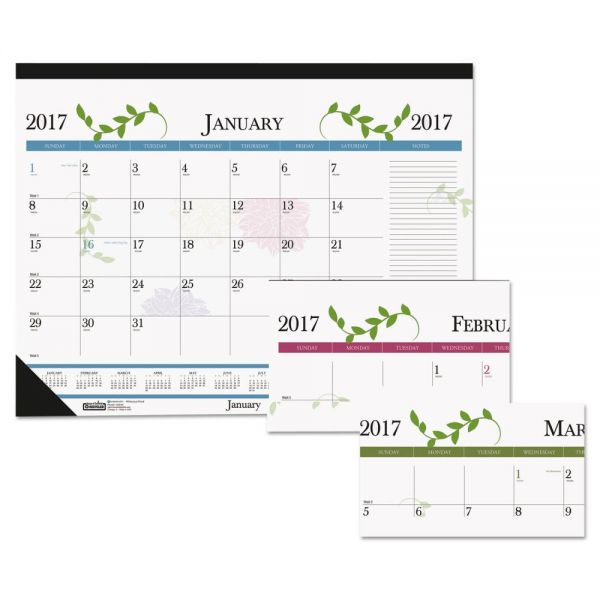 House of Doolittle Floral Monthly Desk Pad Calendar