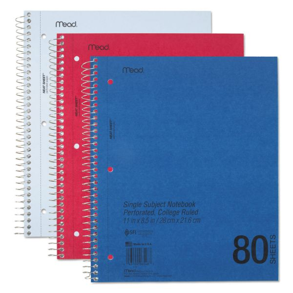 Mead DuraPress Cover Notebook, College Rule, 11 x 8 1/2, White, 80 Sheets