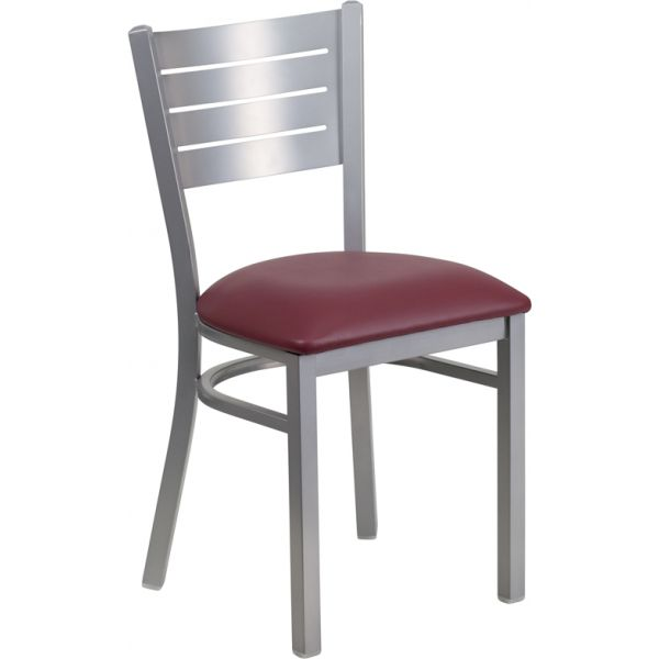 Flash Furniture Slat Back Metal Restaurant Chair [XU-DG-60401-BURV-GG]