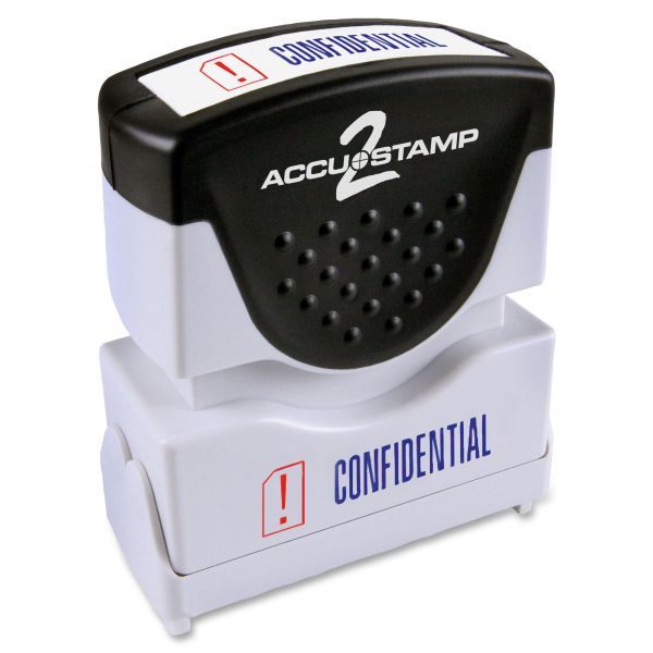 ACCUSTAMP2 Pre-Inked Shutter Stamp with Microban, Red/Blue, CONFIDENTIAL, 1 5/8 x 1/2