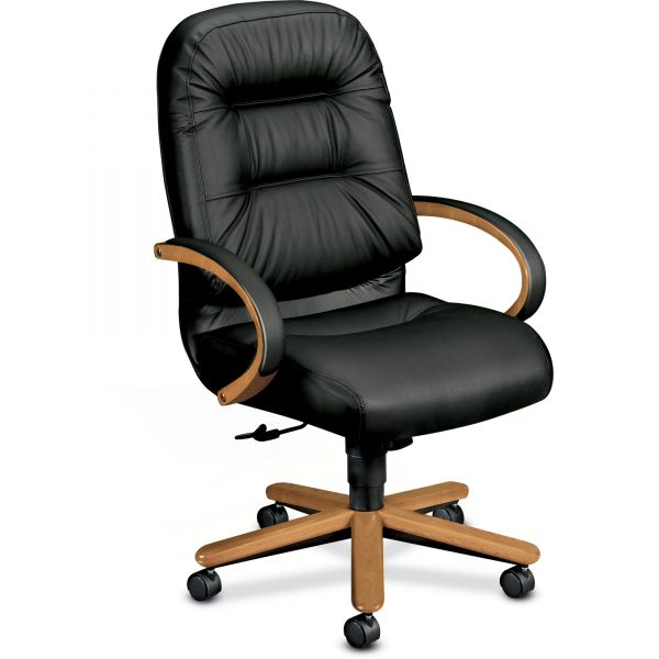 HON Pillow-Soft 2191 Series High-Back Office Chair with Wood Trim