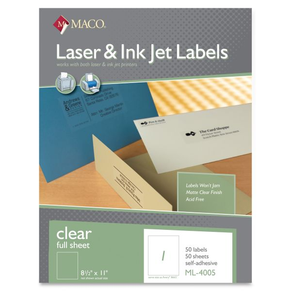 Maco Clear Shipping Labels