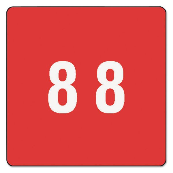 Smead Single Digit End Tab Labels, Number 8, Red, 250/Roll