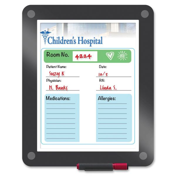 Iceberg Clarity Custom Print Glass Dry Erase Board, 13 1/2 x 11, Charcoal Frame