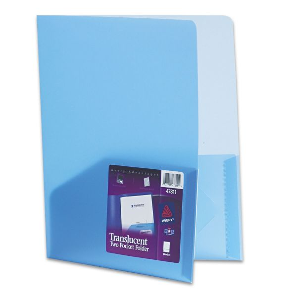 Avery Blue Plastic Two Pocket Folders
