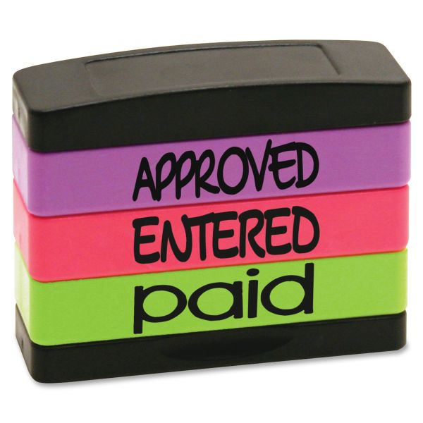Stack Stamp Stack Stamp, APPROVED, ENTERED, PAID, 1 13/16 x 5/8, Assorted Fluorescent Ink